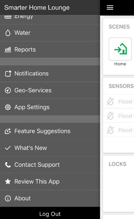 Screen shot of the Enercare Smarter Home app drop-down menu