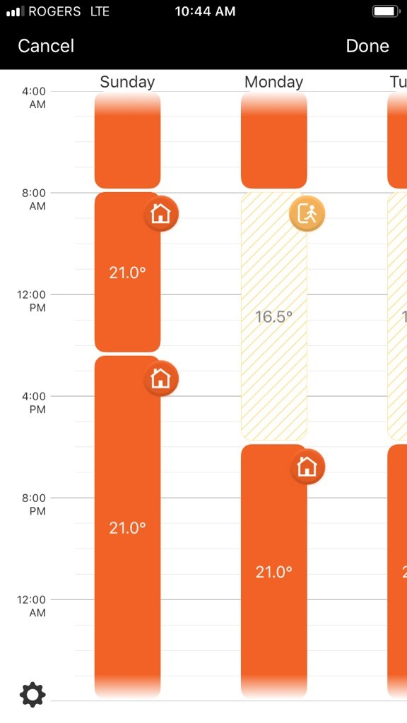 Smarter home app schedules view