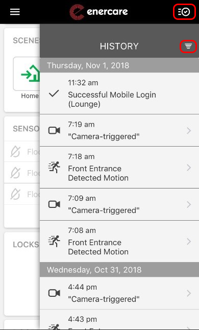Screen shot of the event history within the Enercare Smarter Home mobile app
