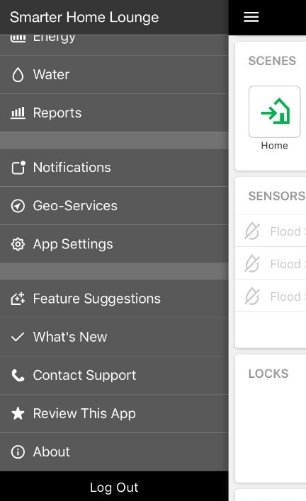 Screenshot of the drop-down menu in the Enercare Smarter Home mobile app
