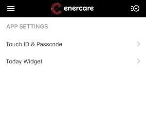 Screen shot of Touch ID menu in the Enercare Smarter Home mobile app