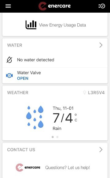 Weather screen shot in the Enercare Smarter Home mobile app